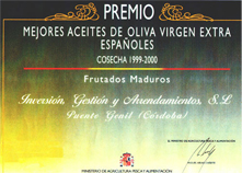Certificate Best Olive oil from Spain 1999-2000